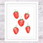Strawberries Print, A4 Size Watercolour Strawberries, Kitchen Print