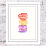 Macaroons Print, A4 Size Watercolour Macaroons, Kitchen Print