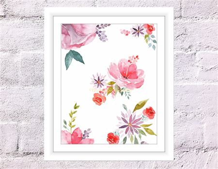 Dreamy Flowers Print, A4 Size Watercolour Flowers