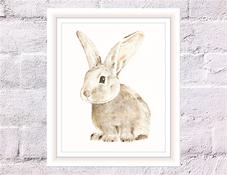 Mr. Breezy Bunny Print, A4 Size Watercolour Rabbit