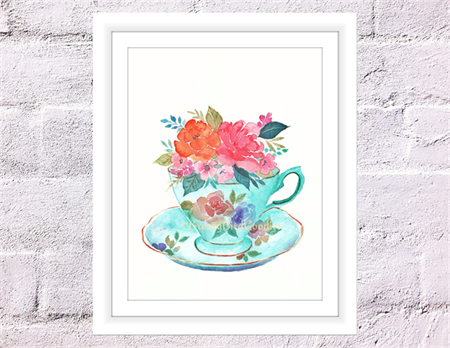 Teacup Print, A4 Size Watercolour Teacup, Teacup with Flowers, Kitchen Print