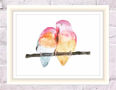 Loving Birds Print, A4 Size Watercolour Lovebirds