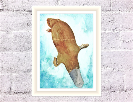 Platypus Print, A4 Size Watercolor Platypus, Australian Animal Print