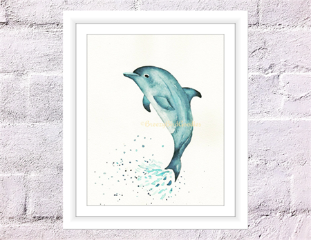 Blue Dolphin Print, A4 Size Watercolour Dolphin, Sea Life Print