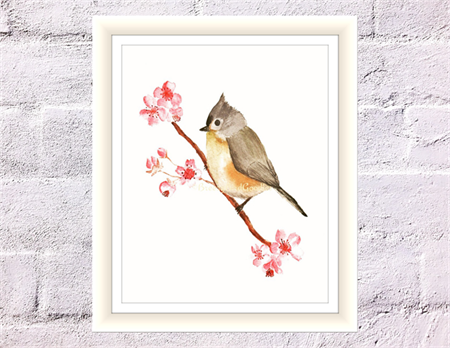 Tufted Titmouse Print with Cherry Blossom, A4 Size Watercolour Bird