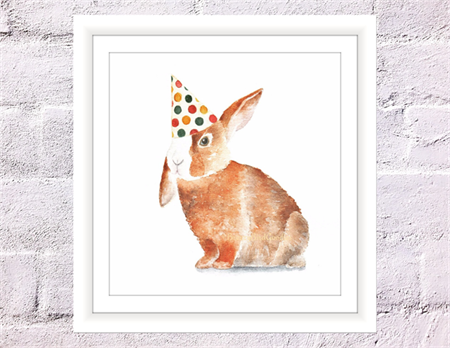 Bunny with Party Hat Print, A4 Size Watercolor Bunny, Nursery Animal Print