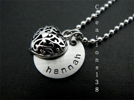 Birthday Gifts for her, Personalized Name Heart Necklace,