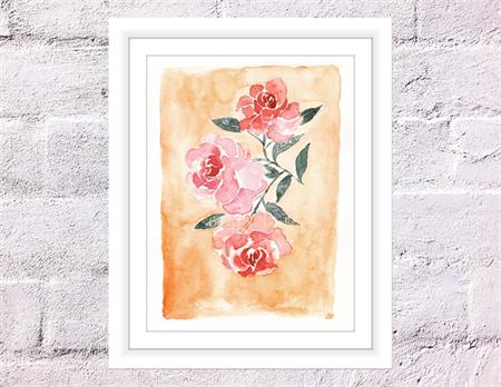 Vintage Roses Print, A4 Size Watercolour Vintage Flowers
