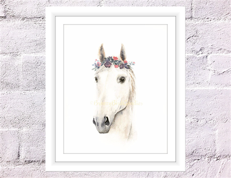 Horse Print, A4 Size Watercolor Horse, Horse with Flower Crown