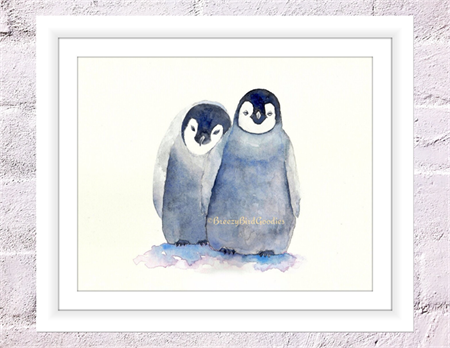 Loving Penguins Print, A4 Size Watercolour Baby Penguins, Nursery Print