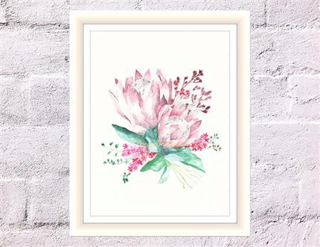 Pink Protea Print, A4 Size Watercolour King Protea