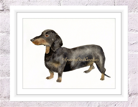 Dachshund Print, A4 Size Watercolor Dog