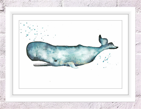 Sperm Whale Print, A4 Size Watercolour Whale, Sea Life Print