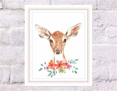 Fawn in Field Print, A4 Size Watercolor Deer, Woodland Animal Print