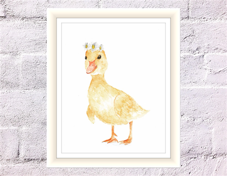 Adorable Duckling Print, A4 Size Watercolour Duckling, Nursery Print