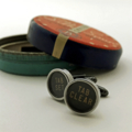 Typewriter-key cufflinks in a vintage tin - black 'TAB set' + 'TAB clear' keys