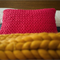 Hand-knitted Cotton Cushion | Throw Cushion | Chunky Knit Cushion
