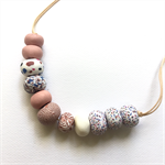 Handcrafted Polymer Clay long or short adjustable necklace- Rose gold and white