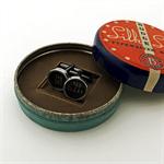 Typewriter-key cufflinks in a vintage tin - black 'TAB set' + 'TAB clear' keys