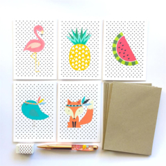 Blank Card Pack - Set of 5 Cards - Flamingo, Fox, Pineapple, Birdie, Watermelon