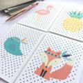 Blank Card Pack, Set of 5 Cards, Flamingo, Fox, Pineapple, Birdie, Watermelon