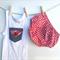 Toddler boys singlet top, denim and gingham pocket, t-shirt top size 2