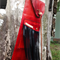 red leather bag, fringed leather bag, red quiver, leather quiver