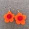 Orange felt flower earrings