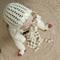 Baby girls crochet bonnet off-white, with ribbon, lace bonnet size 6-12months