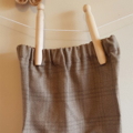 Little Hipster shorts with narrow cuff. Wool blend tan/brown plaid. Size 6 month