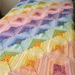 Crochet Pattern -  Rainbow Stripes, Bed Cover