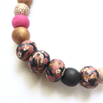 Handcrafted Polymer Clay long or short adjustable necklace- Pink and gold floral
