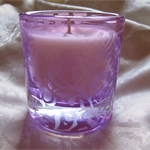 Pretty Purple Glass with  Candle - Natural Soy Wax
