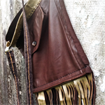 leather bag, repurposed leather cross body bag, Ralph Lauren leather