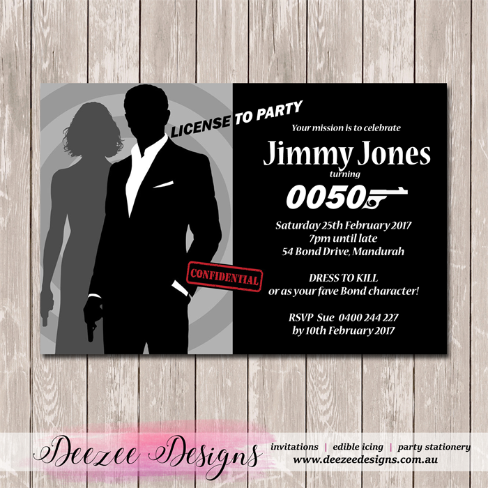James Bond 007 Personalised Birthday Invitation