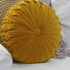 Large Mustard Velvet Vintage Style round cushion-FREE POST