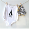 Baby romper onesie, bodysuit, with screen print teepee Happy Camper unisex top