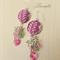 Pink-Rose-Green Earring - Batik jewellery - Swarovski - E017