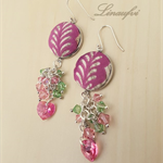 Pink-Rose-Green Earring - Batik jewellery - Swarovski - Sterling silver hook