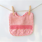 Baby bib, baby girls, pink coral, spots with lace
