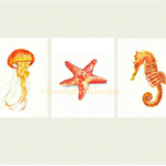 Sea Life Set of 3 VALUE Prints, A4 Size Watercolour Sea Life