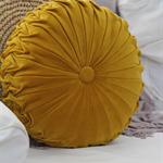 45cm Mustard Velvet Vintage Style round cushion-FREE POST