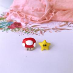 polymer Mario inspired stud earrings
