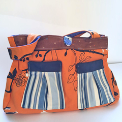 SALE Orange bird print tote w/ brown blue + white detail brushed denim lining