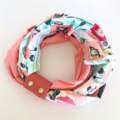 Infinity Scarf & Cuff: Aqua stripe floral with coral pink leather scarf cuff