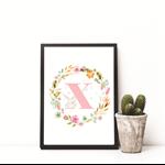Wall Art Print - Digital Download - Personalised Initial Pink