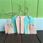 Gift Tag Pack, Handmade Recycled Paper, Orange, Green, Textured Handmade Paper