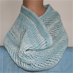 Pure Wool Lace Infinity Loop Scarf Cowl Light Blue Warm Soft Winter Gift for Her