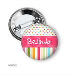 Name badge - Candy Stripe personalised badge