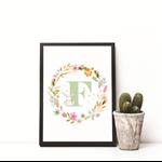 Wall Art Print - Digital Download - Personalised Initial Jade